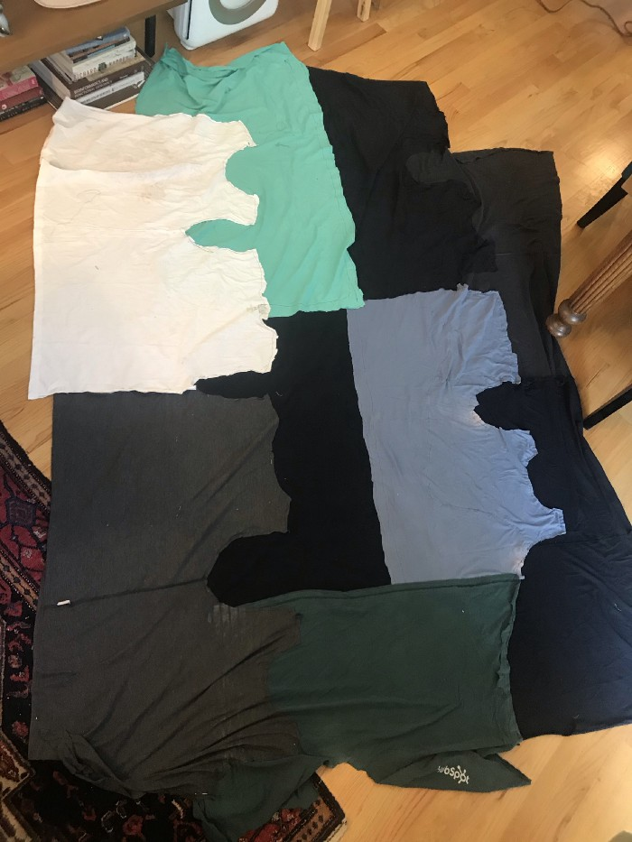 Approximately rectangular piece with straight sides made of four T-shirt columns