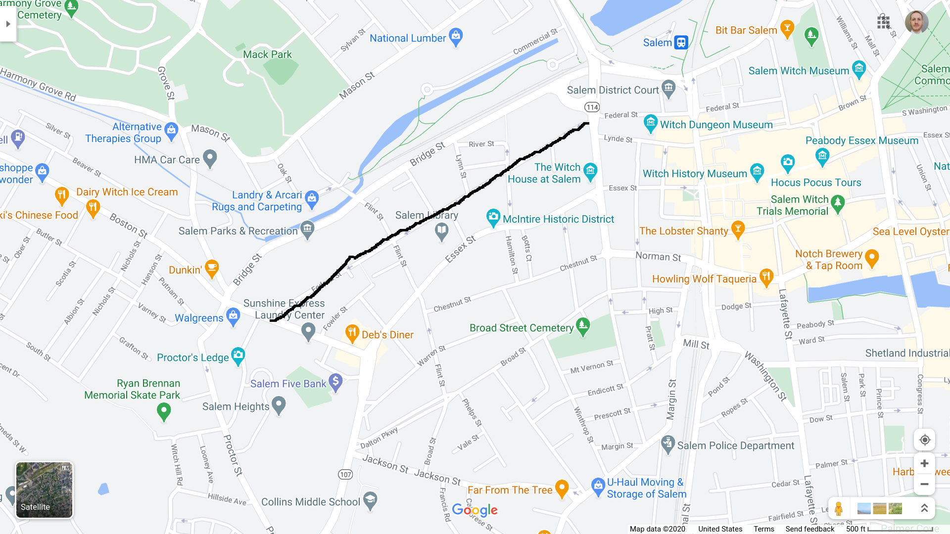 A google map showing a line drawn on Federal Street from Summer Street to Boston Street