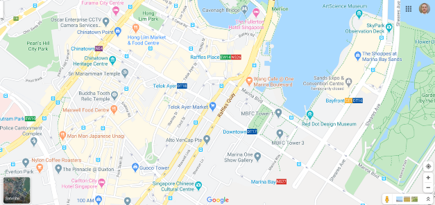 Google Maps view of downtown Singapore